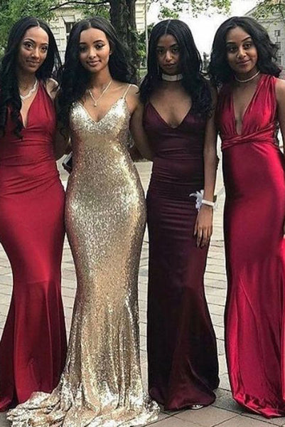 Sexy Affordable V-neck Unique Custom Mismatched Mermaid Long Bridesmaid Dresses,N514