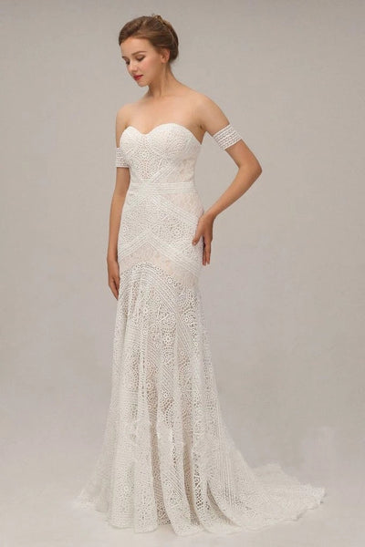 Chic Ivory Lace Mermaid Beach Wedding Dresses Sweetheart Rustic Boho Bridal Dresses N2022