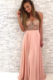 Gorgeous Beaded Prom Dresses, Peach Chiffon Long Prom Dress,V-Neck Party Dress N856