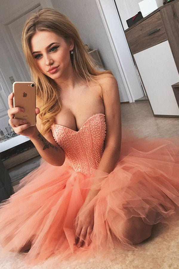 A-Line Sweetheart Short Coral Beading Tulle Homecoming Dress, Strapless Mini Prom Dress N978