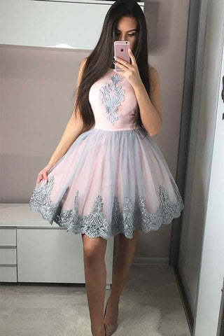21534fbfd32 Cute A-Line Round Neck Pink Homecoming Dress with Appliques