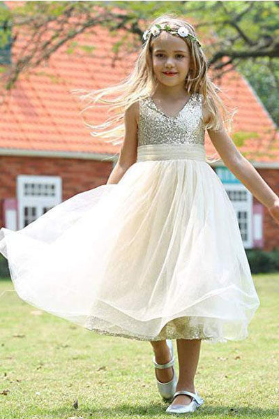 Cute V Neck Sequins Empire Tulle Sleeveless Flower Girl Dresses Child Dresses F066