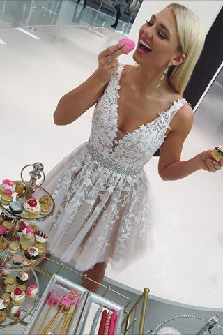 065dd279537 Cheap Cute V Neck Applique Lace Homecoming Dress