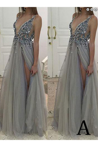 Gray Deep V-neck Side Slit Prom Dresses,Tulle Sleeveless Formal Dress With Crystals,N05