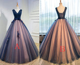 94c7009eb42df ... Unique Dark Blue V Neck Sleeveless Appliques Tulle Long Ball Gown Prom  Dresses with Bowknot, ...