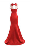 Red Mermaid Sleeveless Prom Dress with Appliques, Long Formal Dress with Sparkles N1583