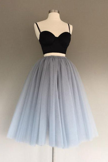 Two Piece Spaghetti Straps A-Line Gray Tulle Homecoming Dress,Sweetheart Tulle Prom Dresses,N243