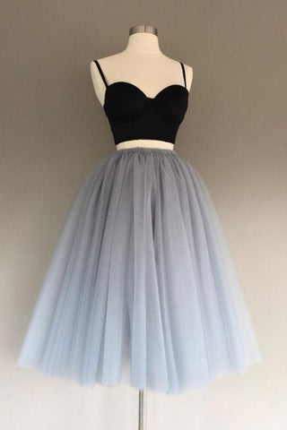 d558154c3a6 Two Piece Spaghetti Straps Gray Tulle Homecoming Dress