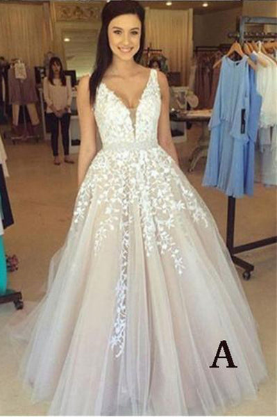 A-line V Neck Long Sexy Prom Dress,Lace Applique Ball Gowns Wedding Dresses N01