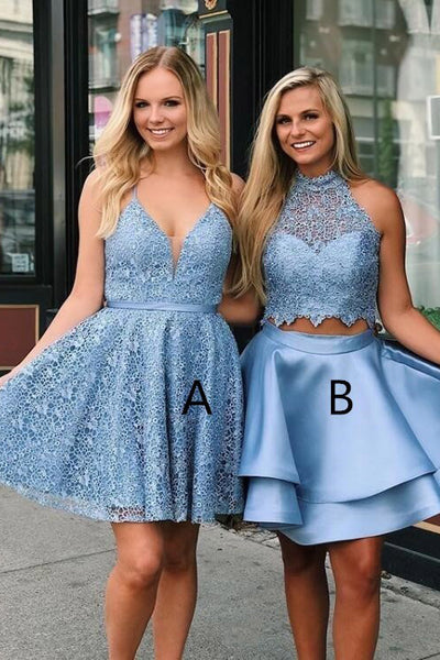 Blue Sleeveless Short Lace Graduation Dresses, Two Piece Satin Homecoming Dress with Lace N2099