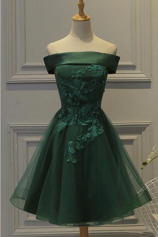 Dark Green Off the Shoulder Tulle Homecoming Dress, A Line Appliqued Short Prom Dress