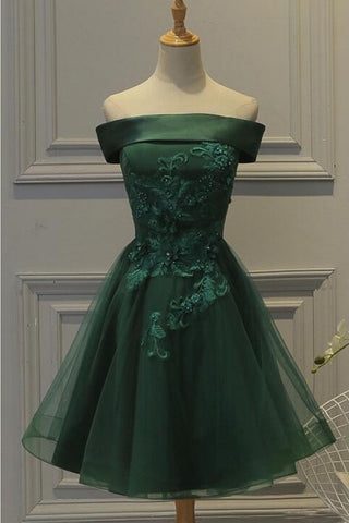 aba1c5e01f4 Dark Green Off the Shoulder Tulle Homecoming Dress