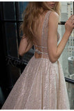 Sexy A-Line Deep V-Neck Court Train Backless Prom Dress with Sequins,Party Dress,N730