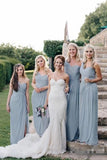 Flowy Long one Shoulder Cheap Dusty Blue Chiffon Bridesmaid Dresses with Slit N2073
