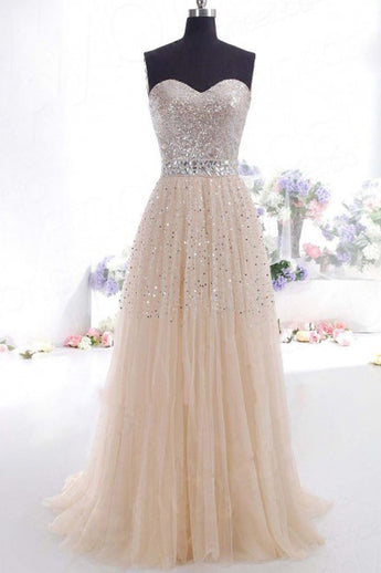 Sexy Strapless Sleeveless Sweetheart Beading Tulle Long Prom Dress E4
