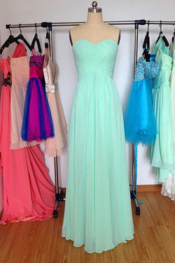 A-line Strapless Floor-Length Chiffon Long Prom Dress ED63