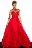 Long Sleeves Red A-Line Prom Dresses Evening Dress ED6