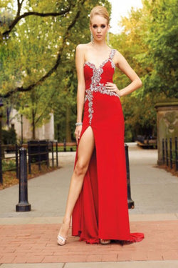 One Shoulder Red Long Prom Dress Evening Dress E0