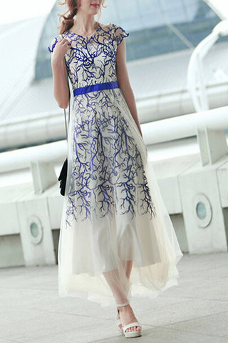 New Arrival embroidery Long Prom Dress Evening DressE90