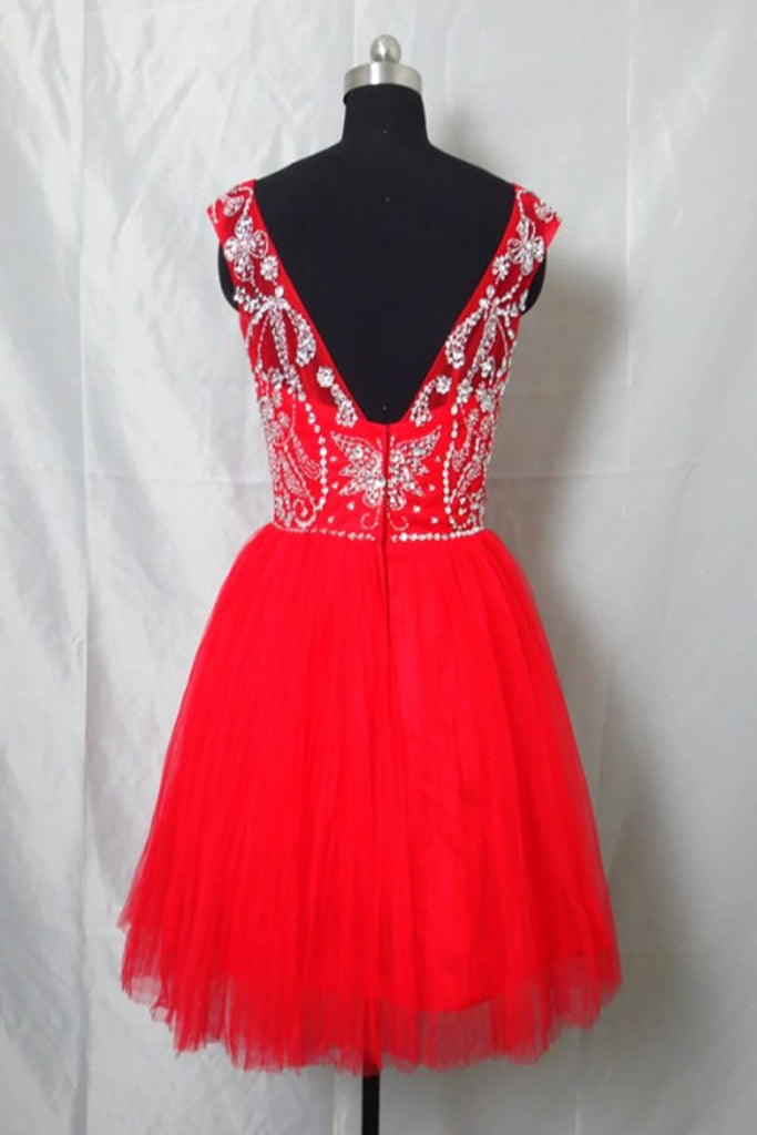 Newest Red Tulle Short Prom Dress Homecoming Dress E60