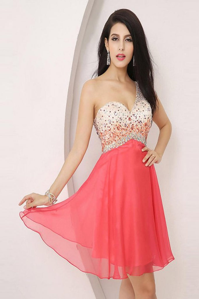 One Shoulder Beading Graduation Homecoming Dress E0