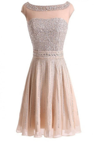 Real Made Beading Short Prom Dress Homecoming Dress E2