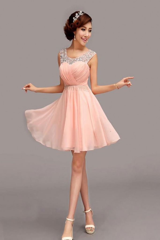 A-Line Chiffon Short Prom Dress Homecoming Dress E26