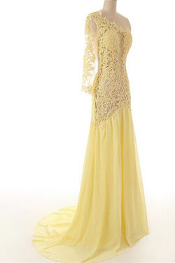 Lace Chiffon Daffodil Long Prom Dresses Evening Dresses ED0649