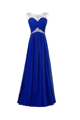 Chiffon Royal Blue Beaded Long Prom Evening Dresses ED0652