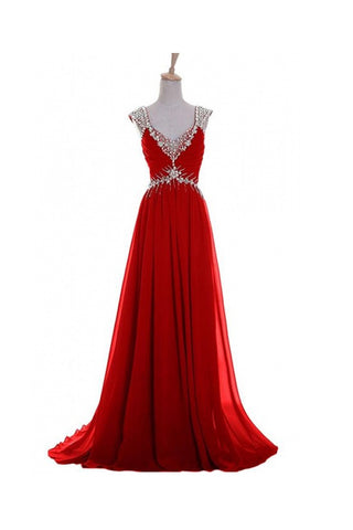 V Neck A-line Red Backless Chiffon Prom Dresses