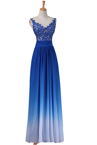 A-line Strapless Floor-Length Royal Bule Ombre Chiffon Long Prom Dress