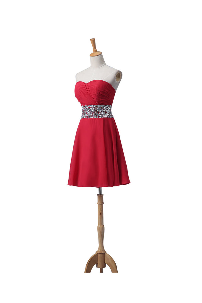 Sweetheart Red Chiffon Beaded Short Prom Homecoming Dresses ED0667