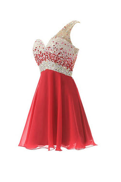 One Shoulder Red Chiffon Beaded Short Prom Dresses ED0671