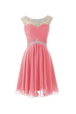 Cap Sleeves Beaded Pink Short Prom\Homecoming Dresses ED0672