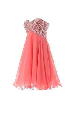 Empire Waist Watermelon Sweetheart Short Prom Homecoming Dress ED0673