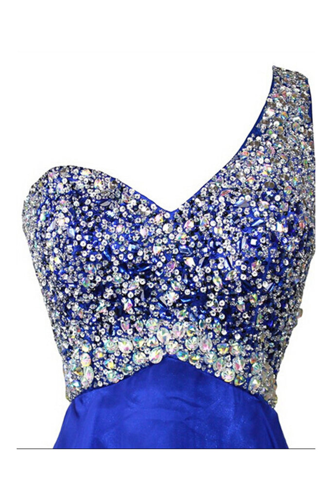 Royal Blue Beaded One Shoulder Long Prom Party Dresses ED0676