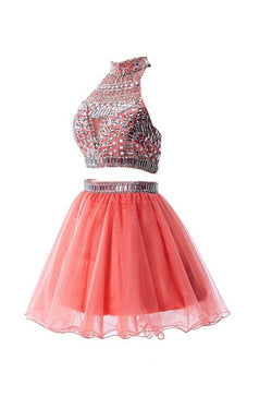 Watermelon Two Pieces Backless Short Prom Homecoming Dresses