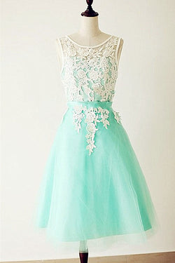 Emerald Lace Cap Sleeves Backless Homecoming Cocktail Dresses ED0678