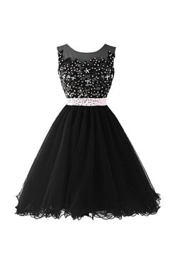 Black Beaded Cap Sleeves Lace Homecoming Cocktail Dresses ED0680