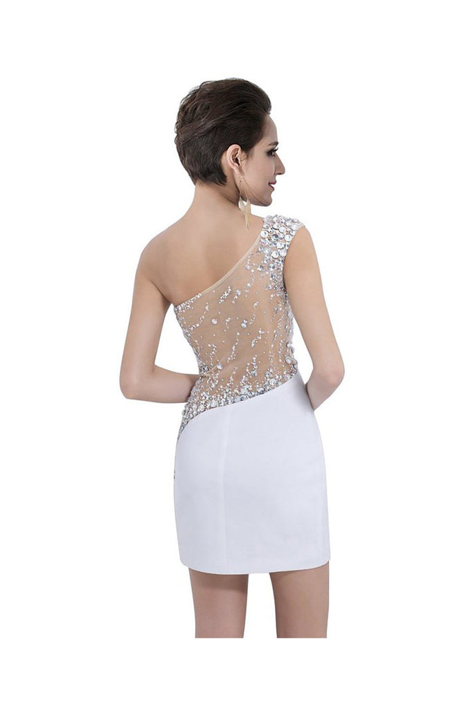 Sheath One Shoulder White Beaded Short Homecoming Dresses ED0690