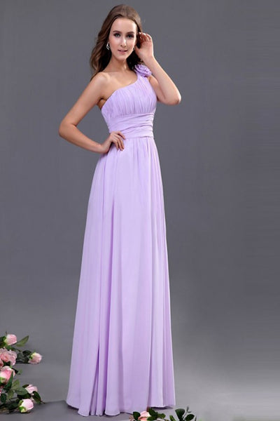 Lavender One Shoulder Chiffon Empire Long Prom Dresses ED0698