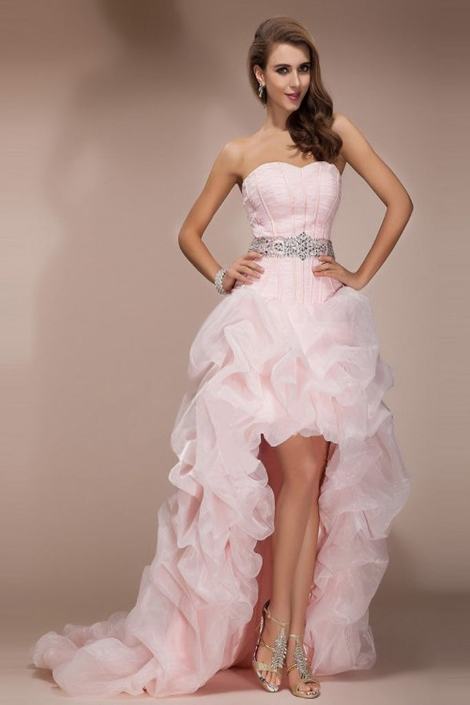 Pink High Low Backless Beaded Short Front Long Back Prom Dresses ED0704