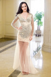 V-neck Long Sleeves Beaded Modest Prom Party Dresses ED0716