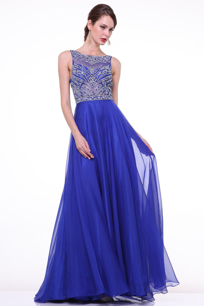 Elegant Royal Blue Long Beaded Cap Sleeves Backless Prom Dresses ED0722