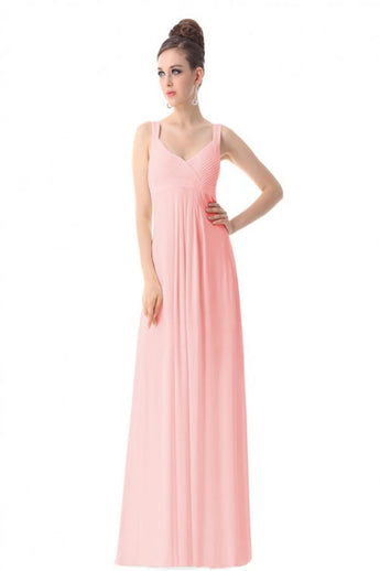 Newest Simple Pink Chiffon Long Prom Bridesmaid Dresses ED0726