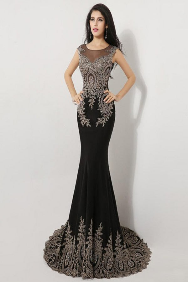 Sweep Train Black Long Cap Sleeve Beaded Prom Dresses
