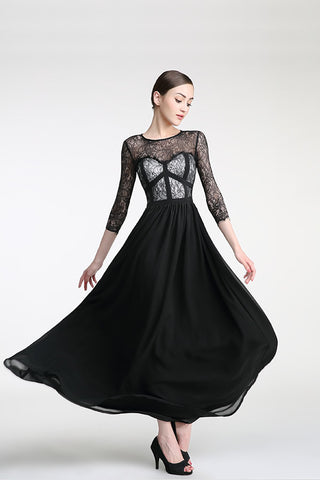 Long Sleeves Black Lace Cap Sleeves Prom Party Dresses ED0830