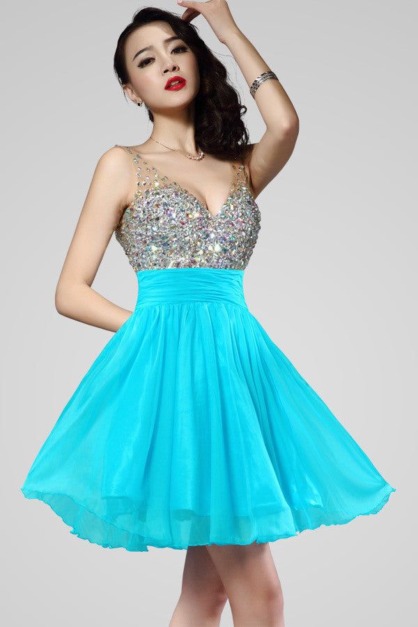 Short V-Neck Chiffon Backless Homecoming Dresses Prom ED0831