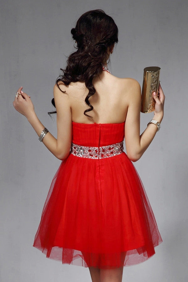 Halter Backless Red Beaded V-neck Homecoming Dresses ED0832