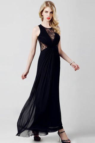 Elegant Chiffon Long Black Lace Simple Prom Dresses ED0833